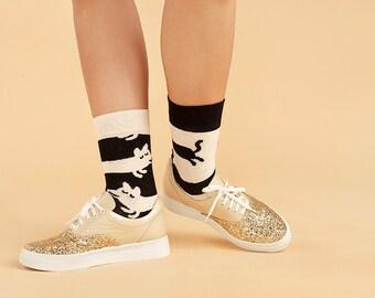 Bicker Men's Socks, Bicker White Black Women's Socks, СatDog Men's Socks, СatDog Women's Socks, Animation Socks, Funny Socks