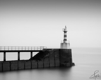 Lighthouse photography, lighthouse print, black and white, landscape photography, nautical, fine art photography, framed print, monochrome