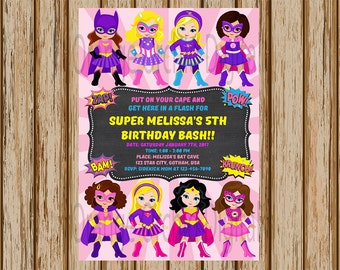 "Girls Superhero Birthday Invitations- Pink Super Hero Invitations - Girls Superhero Party- Superhero Invitations- 5"" x 7"" size- Digital"