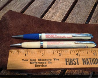 Pair (2) Vintage Durolite Mechanical Pencils - Superior Supply - Salina, Ks - with Temperature and Pressure Chart