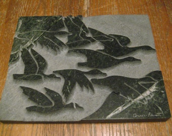 "Hand Carved Marble Relief Art Sculpture, GEESE, Conner Bernett, 10"" X 8"" X 3/4"""