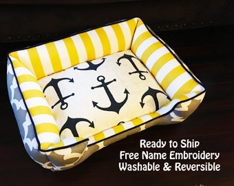 Ready to Ship Dog Bed 24x18   Washable Pet Bed   Nautical Dog Bed   Free Personalization   Cute Dog Bed   Comfortable Dog Bed  Dog Bed