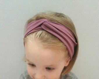 Mauve organic turban headband, organic cotton bamboo headband, adult stretchy baby headband, toddler, teen turban hairband