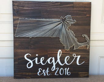 Custom state string art sign with handpainted family name