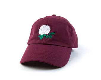 Rose Dad Hat Rose Baseball Cap Embroidered Hat Adjustable Baseball Cap Maroon