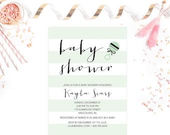 Mint Stripes Baby Shower Invitation, Mint Baby Shower Invite, Gender Neutral Baby Shower Invitation, Baby Sprinkle Invite, Printable Digital