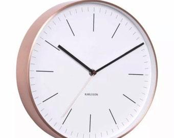 Copper Minimal Wall Clock - White Face