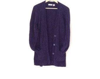 90s Oversized super soft cardigan. Large navy blue warmest sweater. Size medium