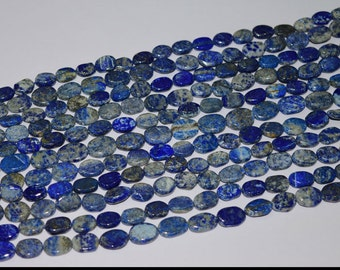 Lapis Lazuli Oval  Gemstone Beads 8-10mm to 10-13mm  AAA  13 Inch 100% Genuine and Natural Stone