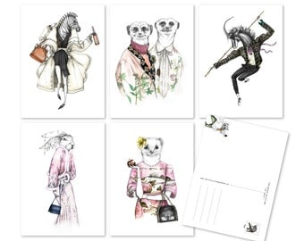 Illustrated fashion-postcard set 'the WINTER COLLECTION'