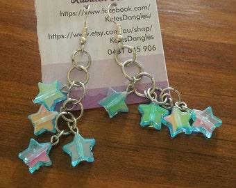Blue star earrings, blue earrings, Star earrings, sterling silver earrings,  blue jewelry,  blue beads, chain earrings
