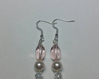 Pink earrings, pink beads, pearlescent beads, pearlescent earrings, sterling silver earrings