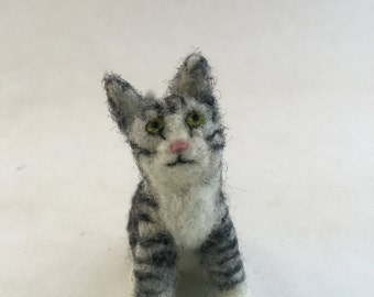 Needle-Felted Grey Striped Tabby Cat Sculpture