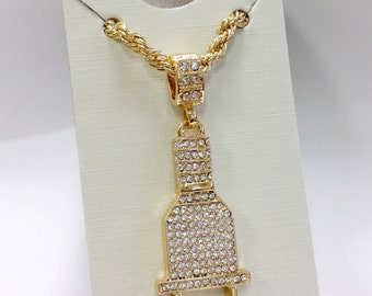 """18k Gold Plated Plug Pendant Necklace with 24"""" Rope Chain"""