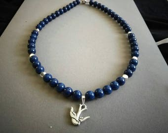 Inspiration Blue Quartz Necklace- pewter dove- choker- gifting-birthday- holiday Beaded Gemstones