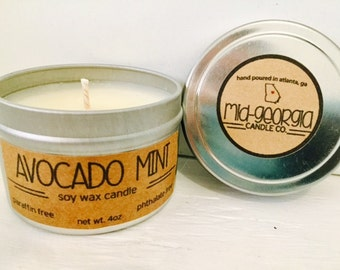 Avocado Mint Soy Candle Tin 4oz.