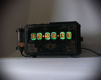 "Nixie tube clock ""Postapocalypse 4"" IN-12"