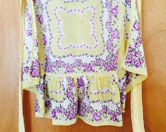 Floral Half Apron Yellow Purple Violets Mid Century Vintage Cotton Linen