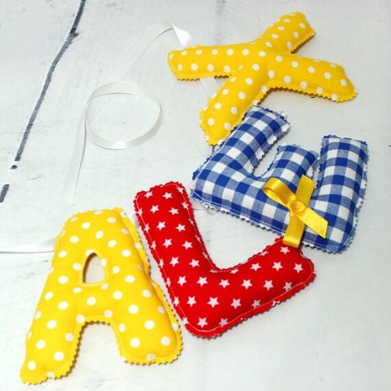 Guirlande pr nom d co chambre b b pr nom personnalisable for Guirlande tissu chambre bebe