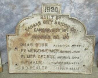 1920 Cast Iron Bridge Plaque Kansas City Bridge Cooper Co MO Vintage Sign b