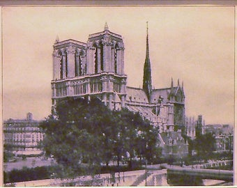 1927 Notre Dame Cathedral Paris France Matted Vintage Print