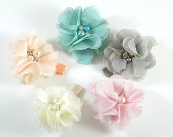 Pastel Flower Clips. Chiffon Flower Clip. Flower Hair Clip. Easter Bow. Toddler Barrettes. Baby Barrettes. Flower Barrettes. Pastel Barrette
