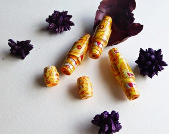 Set of 5 scrapbooking paper beads, yellow, 1.37