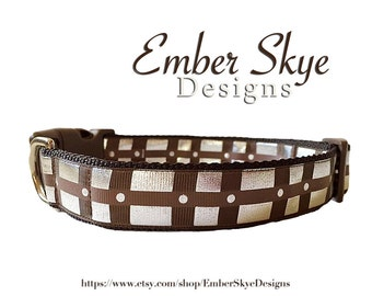 "Star Wars Chewbacca Inspired Adjustable Dog Collar 1"" Width"