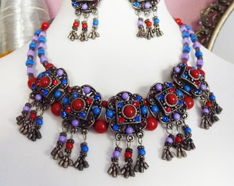 Tribal Fusion Jewelry, Bellydance-Jewelry, Set of Jewelry, Necklace with Stud Earrings, Vintage