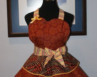 FALL Hostess Full Sweetheart Apron with Three Layer Flounced Skirt