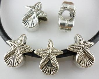 16/130pcs Tibetan Silver Hole: 4.5mm starfish Spacer Beads 11x14mm