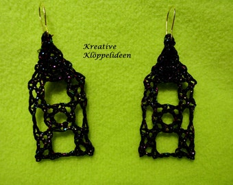 Handmade bobbin lace earrings in black-multicolor