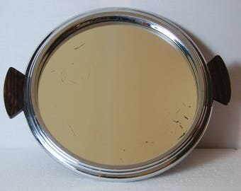 1950s French mirrored tray, round with chrome surround, with rosewood handles. Art Deco style. Good overall condition for this stylish tray.