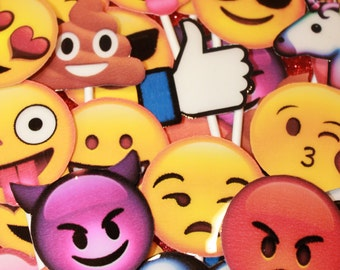 Emoji Cup Cake Toppers (12 pieces)