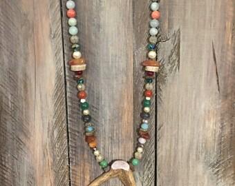 Deer antler necklace