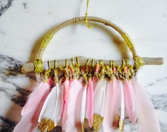 Dreamcatcher / Attrape Reves with Feathers - Pink and Gold