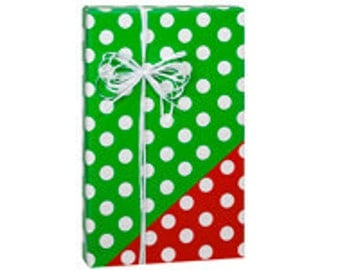 Reversible Red and White Polka Dot Double Sided Gift Wrap Wrapping Paper -15ft