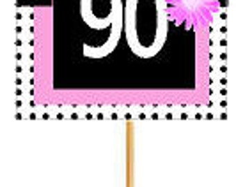 Happy 90th Birthday Pink w. Black Polka Dot Novelty Cupcake Decoration Topper Picks -12ct