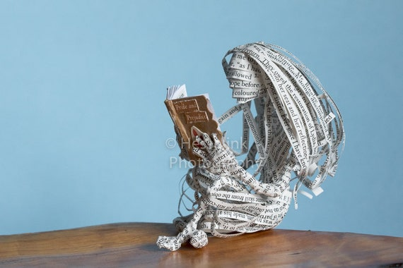 Book Sculpture, Pride and Prejudice, Jane Austen, Paper Mache