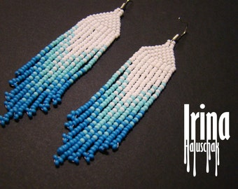 Fringe earrings,Beaded earrings, seed bead earrings, modern earrings, boho earrings, beadwork jewelry, gradation from white to blue