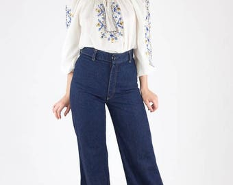 Awesome Vintage 70's Dark Denim High Waisted Amco Flares