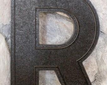 Vintage Letter R - Marquee Letter R - Black Letter