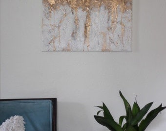 """Gold Leaf Textured Acrylic Painting 16""""x 20"""" Canvas"""