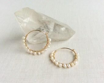 Fresh Water Pearl Gold Hoop Earrings - White Pearl Hoop Earrings - Pearl Hoop Earrings with Gold Plated wires