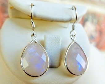 Rainbow Moonstone Earrings - Valentines Gift for her-Moonstone Jewelry-Sterling Silver Earrings - Silver Teardrop Earrings - Bridal Earrings