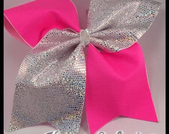 White sparkle and Hot pink Cheer Bow