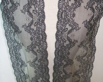 "RESERVED  4 yards black  french lace trim (N109)/ 7"" wide stretch trim by the yard"
