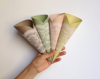 Wedding Paper Cones, Lace Wedding Decor, Rustic, Send-off idea, CUSTOM MADE, HANDMADE