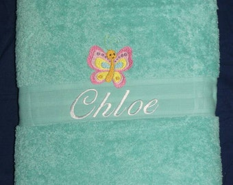 Mint Embroidered Towel, personalised towel, kids towel, cotton towel, thick towel, wedding, birthday, new born, easter, beach, pool