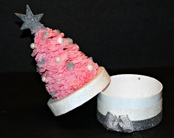 Pink Crepe Tree Christmas Gift Box, Gift Box, Christmas Decoration, Handmade Gift Box,